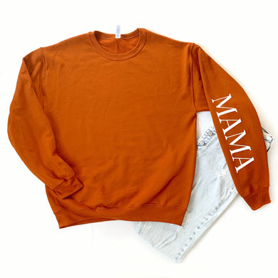 Burnt Orange Mama on Sleeve Fleece Pullover
