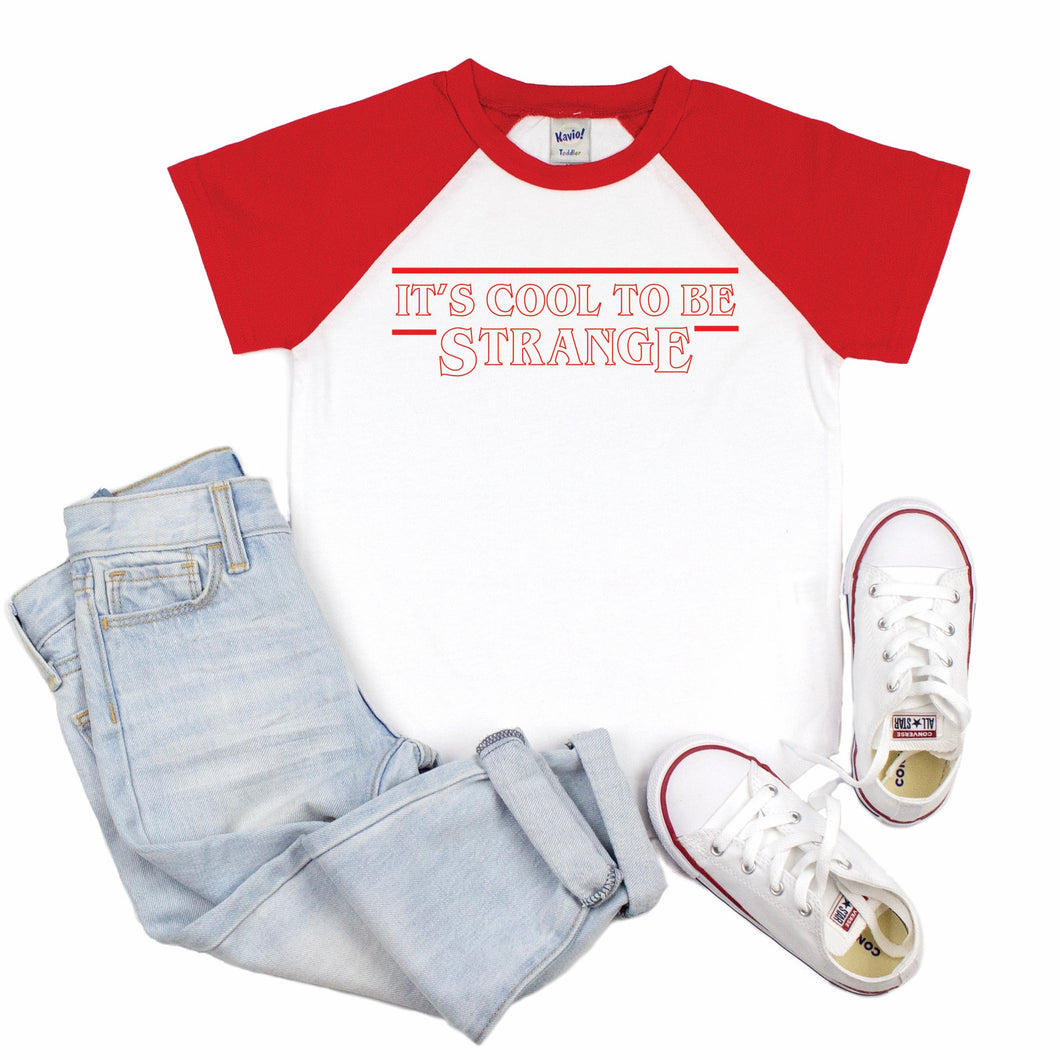It's Cool To Be Strange Kids Short Sleeve Raglan