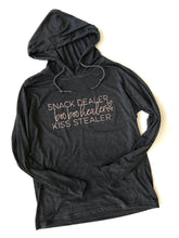 Snack Dealer Hooded T-Shirt Charcoal with Rose Gold Ink