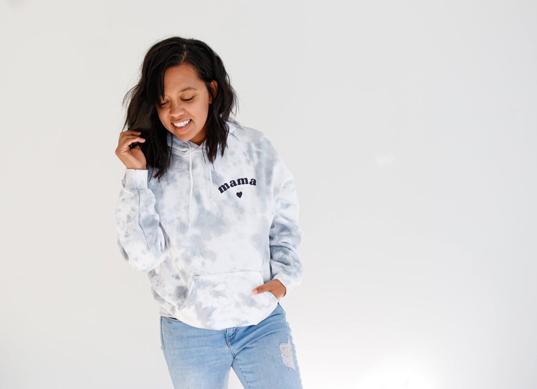 Cloudy Skies Adult Hooded Tie Dye Sweatshirt