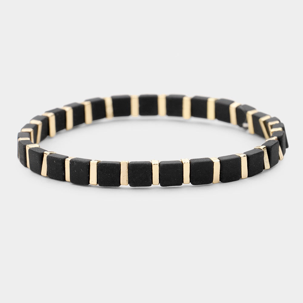 Black and Gold Stacker Bracelet - 1 piece