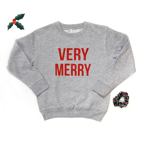 Very Merry Kid's Crewneck Pullover Sweatshirt