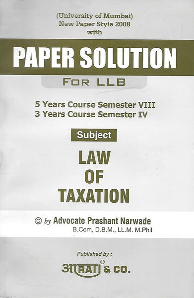 Paper Solution Law of Taxation