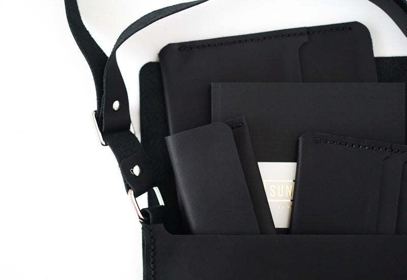 Reporter's Sling Bag in Black