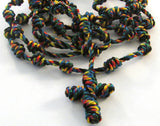 Autism Awareness Colors Handmade Knotted Cord Catholic Rosary