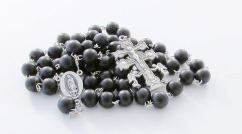 Cruz de Caravaca Our Lady of Guadalupe Santo Niño de Atocha Black Wood Handmade Catholic Rosary