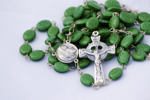 Green Shamrock Bead Handmade Catholic Rosary with Celtic Crucifix