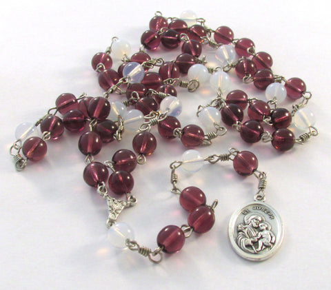 Amethyst and White Czech Glass Druk Bead Catholic Chaplet of Saint Joseph Handmade