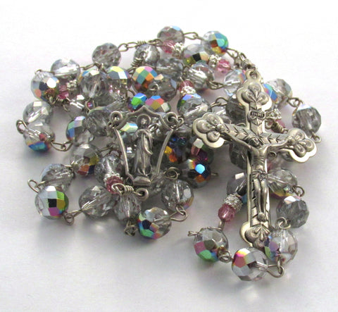 Crystal Clear Vitriol and Pink Czech Glass Beaded Handmade Catholic Rosary OOAK