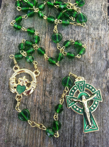 Enameled Celtic Crucifix Claddagh Green Heart Bead Rosary