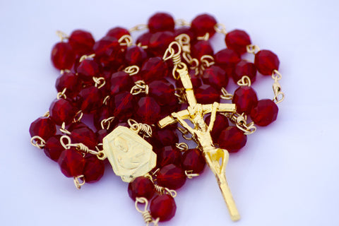 Catholic Handmade Sacred Heart of Jesus Garnet Czech Glass Goldtone Rosary