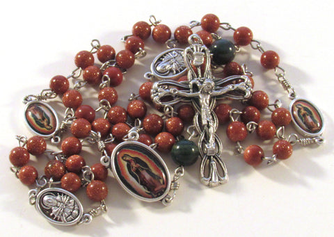 Our Lady of Guadalupe Goldstone and Indian Bloodstone Gemstone Handmade Catholic Rosary