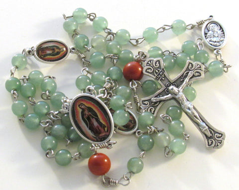 Our Lady of Guadalupe Green Aventurine Red Jasper Gemstone Handmade Catholic Rosary