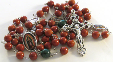 Our Lady Guadalupe Red Jasper and Malachite Gemstone Handmade Catholic Rosary