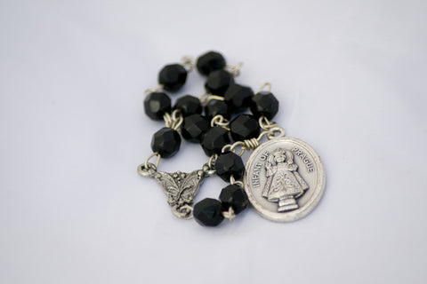 Infant of Prague Black Czech Fire-polished Glass Bead Catholic Handmade Chaplet