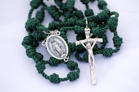 Spring Green Handmade Knotted Cord Catholic Rosary with Miraculous Medal Center and Papal Crucifix