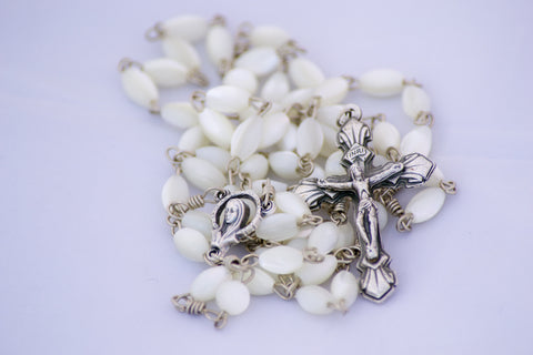 Handmade Mother of Pearl Gemstone Catholic Rosary
