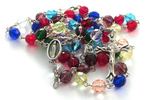 Multicolored Czech Glass Bead Handmade Rosary w/ Marian Center Medal & Teardrop Crucifix
