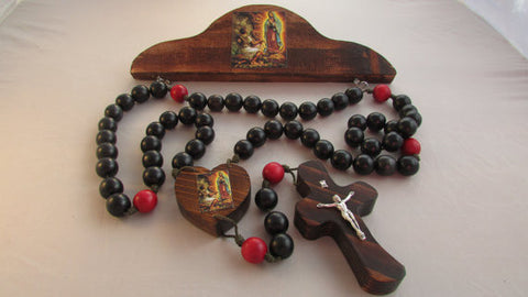 Handmade Our Lady of Guadalupe St Juan Diego Wooden Wall Rosary w/ Hanger 20mm Black/ Red Wood Beads