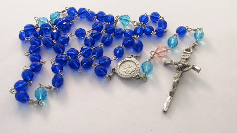 Handmade Pink, Teal and Blue Thyroid Cancer Awareness Glass Bead Catholic Rosary