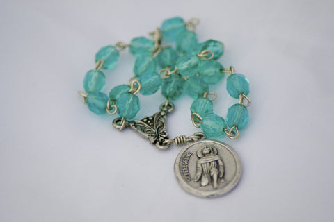 Teal Czech Glass Bead Saint Peregrine Chaplet Patron Saint of Cancer Catholic Handmade