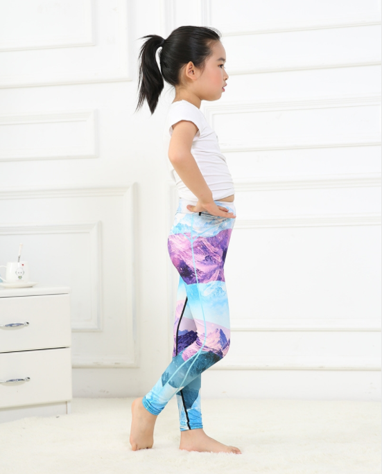 Girls Blue Snow Mountain Leggings -Yoga Pants