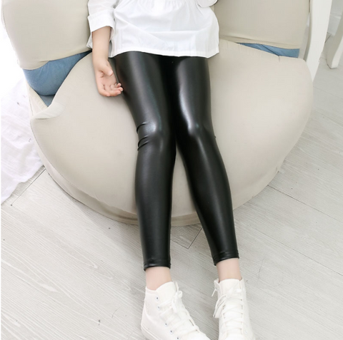 Girls Leather Leggings -Yoga Pants
