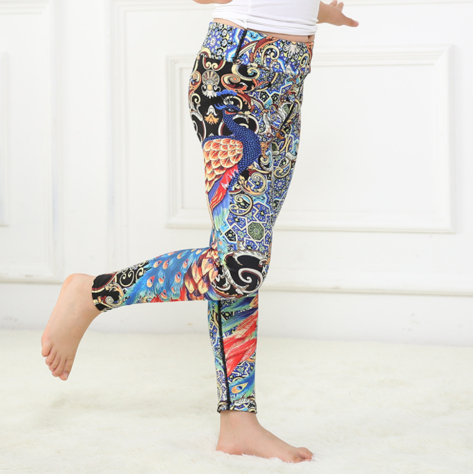 Girls Peacock Leggings -Yoga Pants