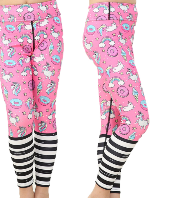 Girls Pink Unicorn Leggings -Yoga Pants