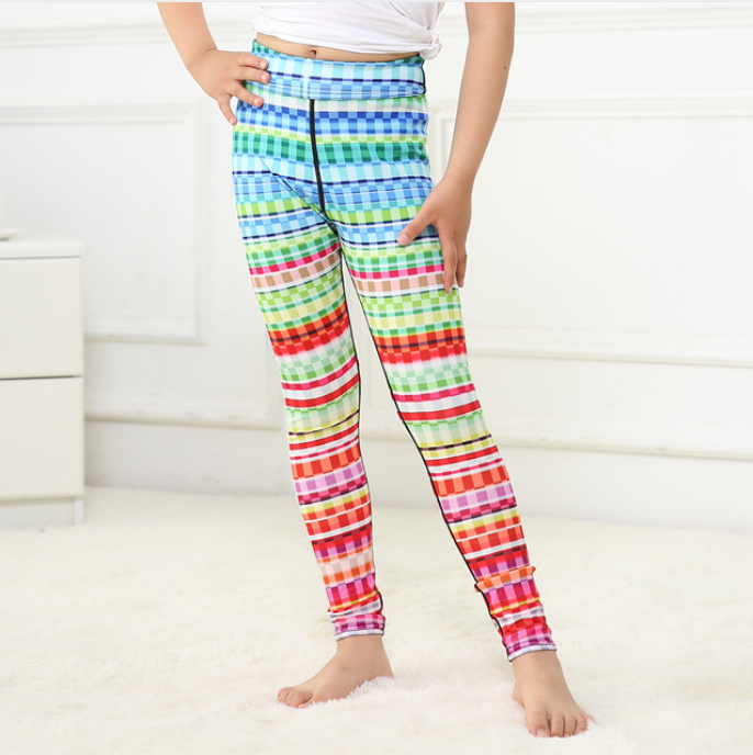 Girls Rainbow Circles Yoga Pants -Yoga Pants