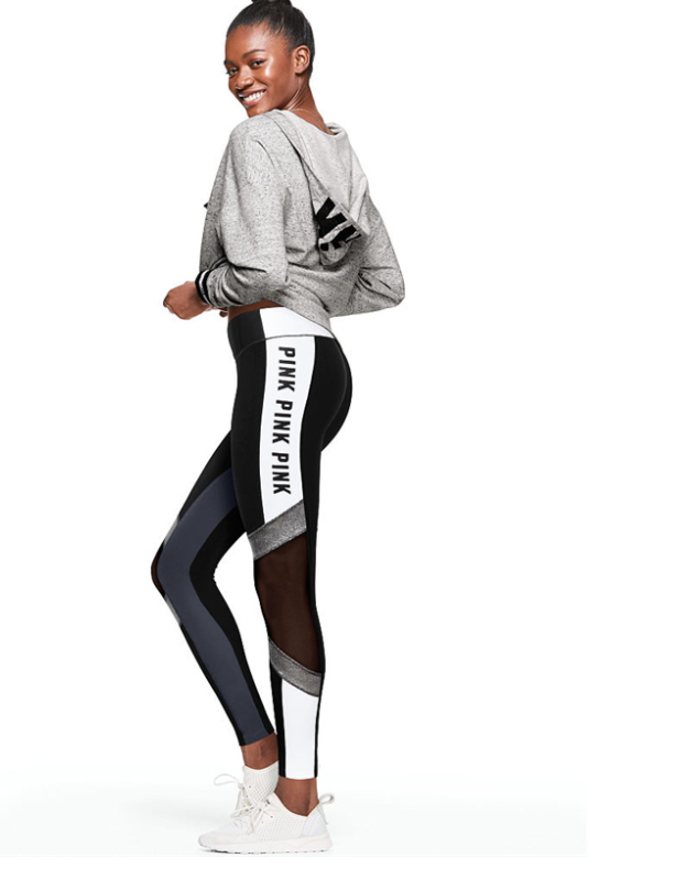 Women Black Letter Print Leggings -Yoga Pants