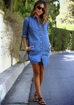 Women Long Sleeve Denim Dress -Women Dress