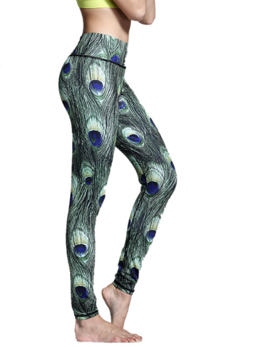 Women Peacock Feather Yoga Pants -Yoga Pants