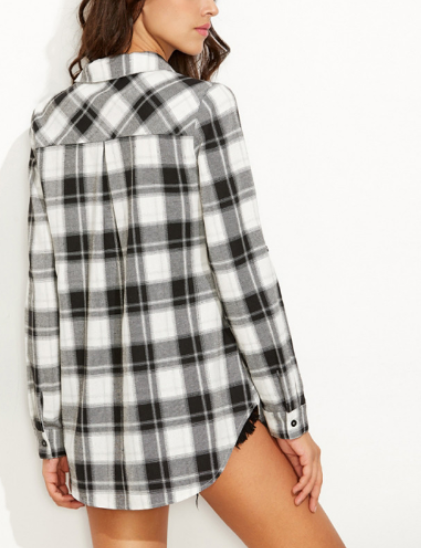 Women Plaid Blouse