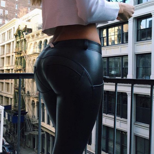 Women Push Up Leather Yoga Pants -Yoga Pants