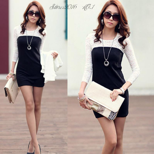 Women Sexy Lace Splice Dress