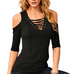 Women Sexy Lace Up V-Neck Blouse