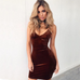 Women Sexy Velvet Party Dress