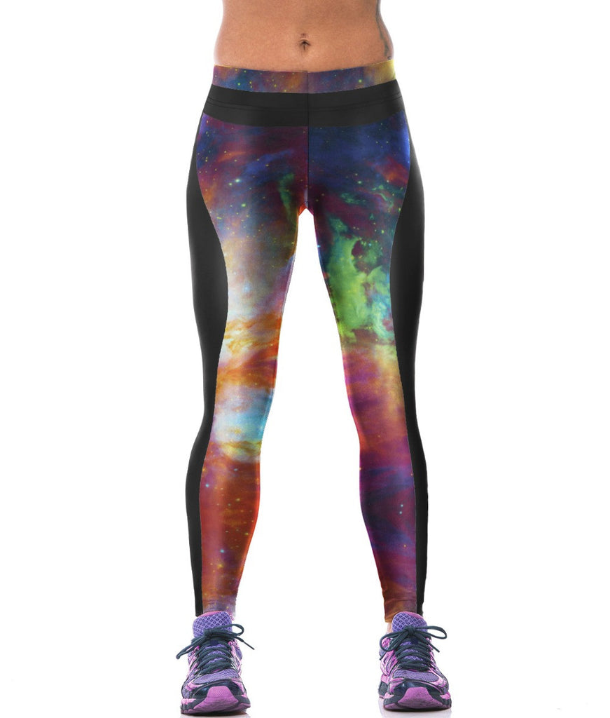 Women Red-Green Sky Pattern Yoga Pants -Yoga Pants
