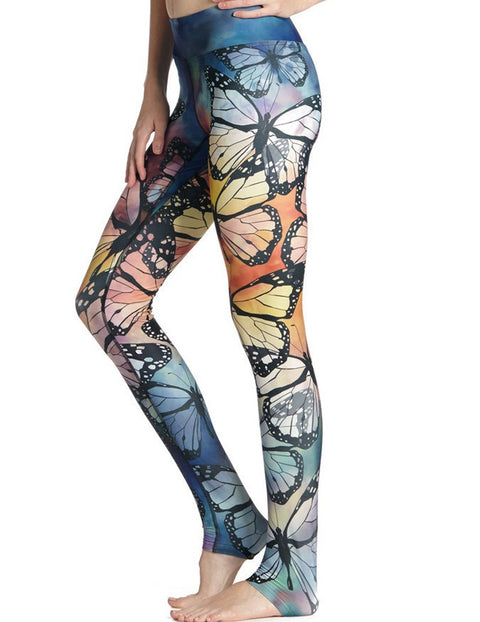 Women Butterfly Print Yoga Pants -Yoga Pants