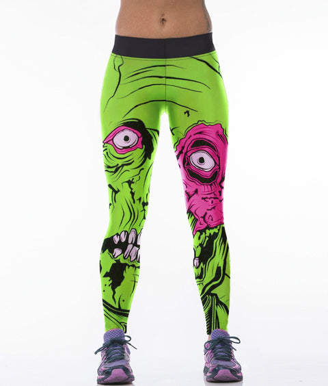 Green-Haired Monster Pattern Yoga Pants -Yoga Pants