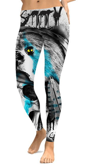 Women Bear Print Leggings -women leggings