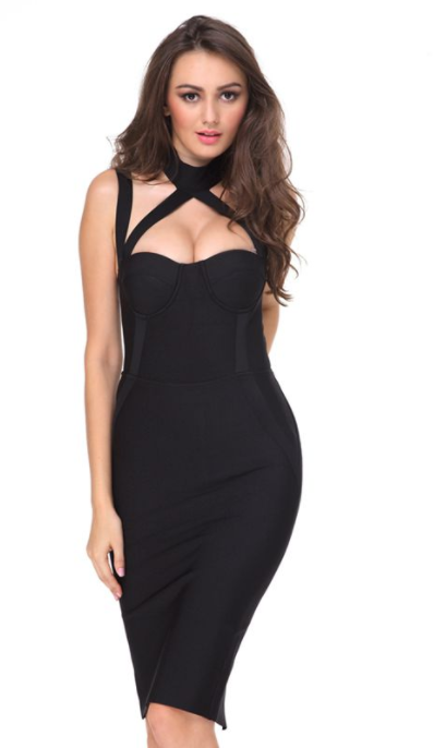 Women Black Bodycon Party Dress -Women Dress