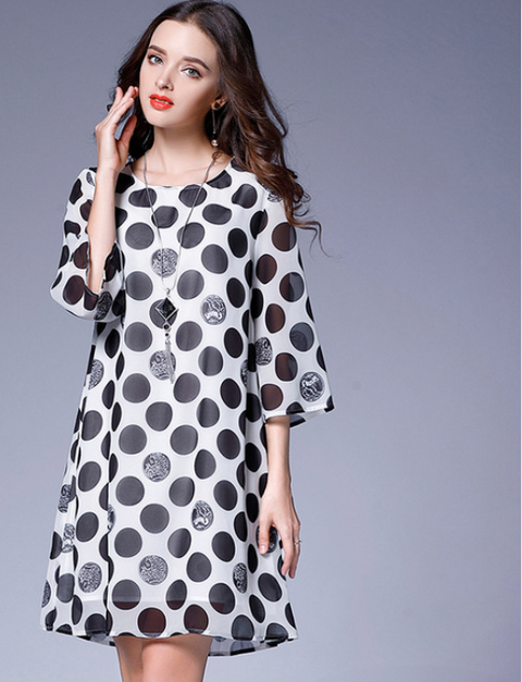 Women Black Dot Chiffon Dress -dresses