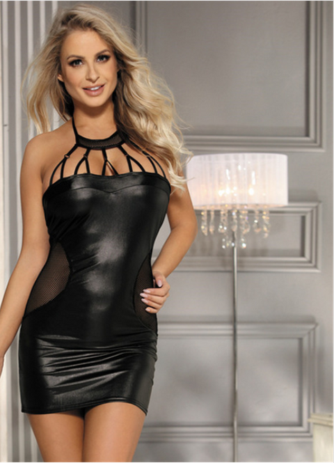 Women Black Faux Leather Dress -dresses