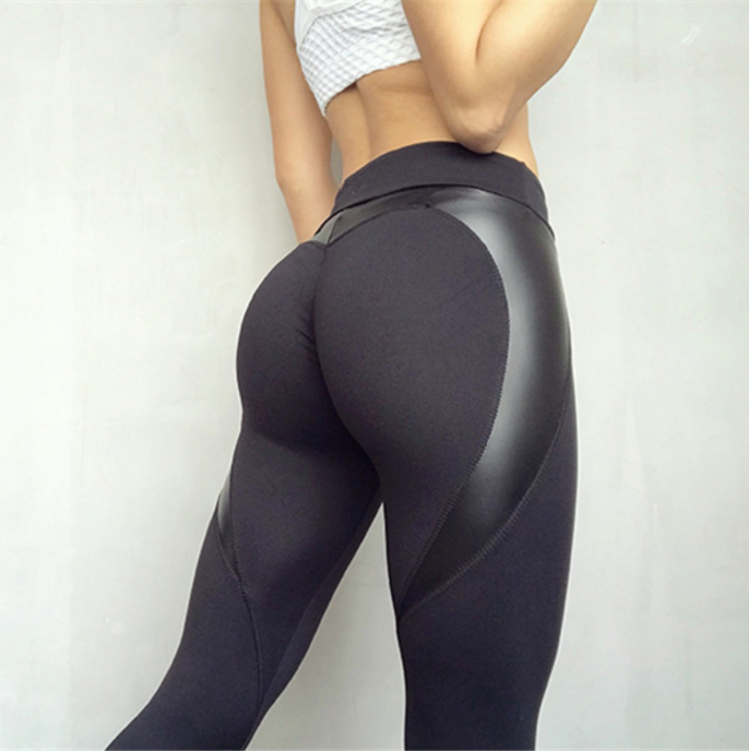 Women Black Heart Shaped Leggings -Yoga Pants