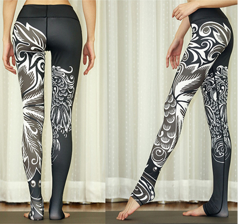Women Black Phoenix Paper Cut Leggings -Yoga Pants