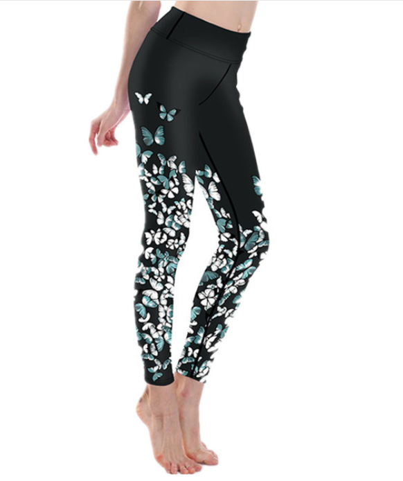 Women Butterfly Print Leggings -Yoga Pants