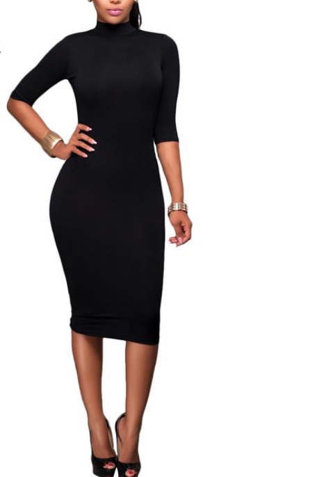 Women Casual Turtleneck Dress -dresses