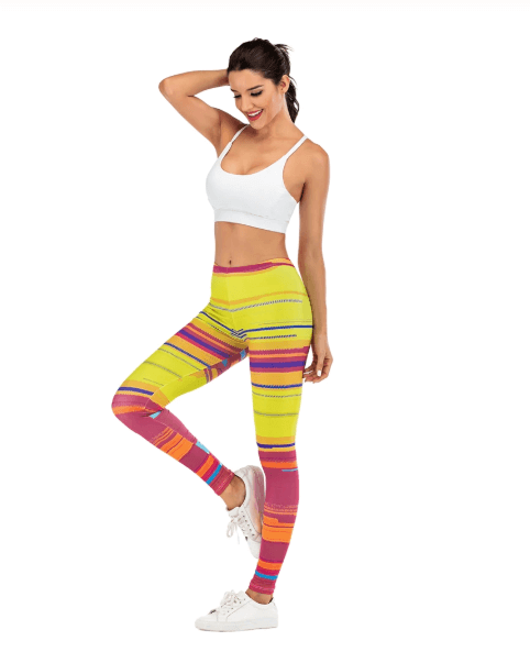 Women Colorful Stripe Leggings -women leggings